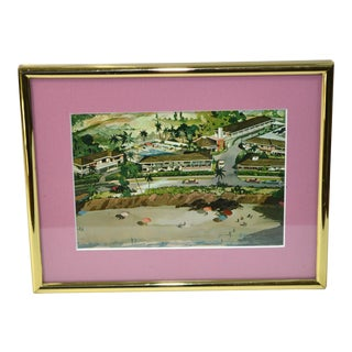 Laguna Beach California Vintage Postcard in Brass Picture Frame For Sale