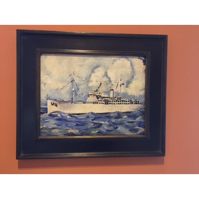 Vintage Mid-Century Cruise Ship Painting - Image 2 of 7