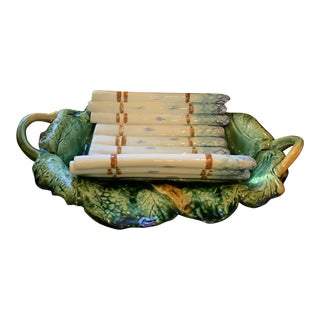 Antique French Longchamp Pottery Asparagus Tray Server For Sale
