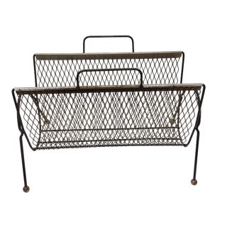 Mid-Century Modern Brass Atomic Magazine Rack For Sale