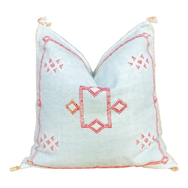 Zara Large Square Moroccan Silk Rug Pillow For Sale