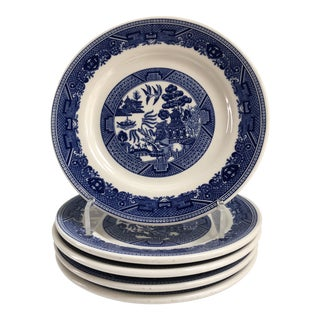 Blue Willow Buffalo China Dinner Plates, Set of 5 For Sale