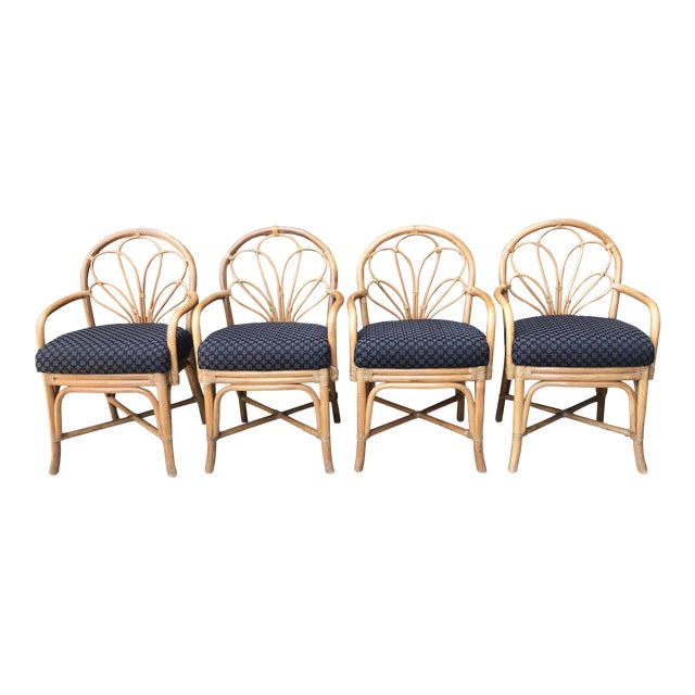1970's Vintage Bent Bamboo Dining Upholstered Chairs - Set of 4 For Sale