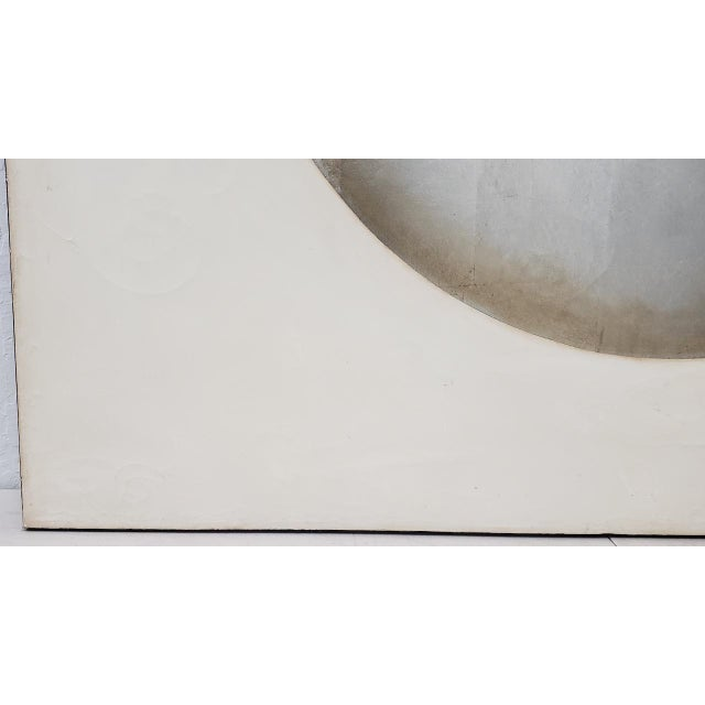 Large Scale Silver & Gold Abstract Oil Painting by Johnson c.1970 This fantastic vintage oil painting will be the...