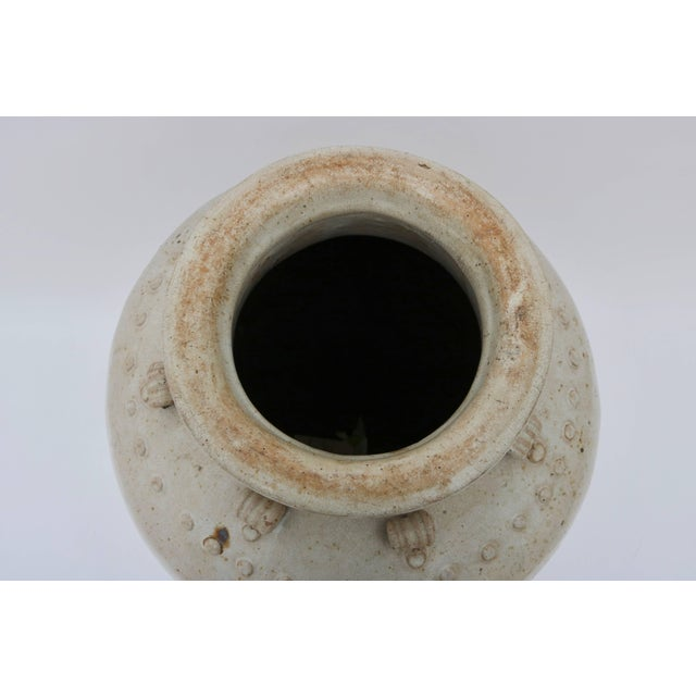 Late 20th Century Large Scale Thai Glazed Earthen Ware Urn Putty Colored For Sale - Image 5 of 11