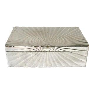 Art Deco Style Egyptian Eye Design Chrome Silvered Box, Cigarette Box For Sale