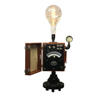 Industrial Weston Watt Meter Table Lamp