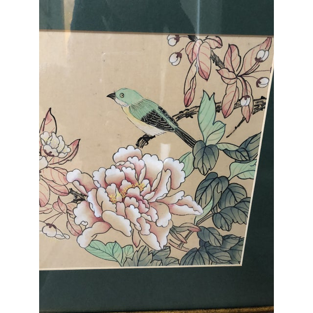 1940s Vintage Chinese Floral Watercolor Paintings - A Pair For Sale - Image 9 of 11