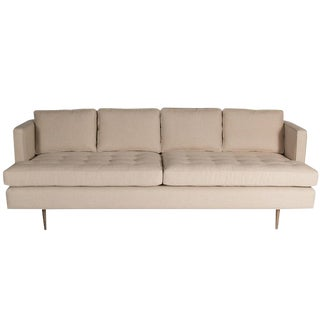 Brown Tufted Standard Sofa For Sale