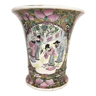 Vintage Purple Chinoiserie Ceramic Vase For Sale