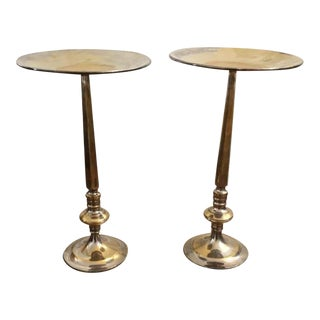 Silver Brass Plated Floor Candlestands - A Pair For Sale