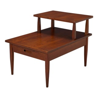 1960s Mid-Century Modern Walnut Two-Tiered Side Table For Sale