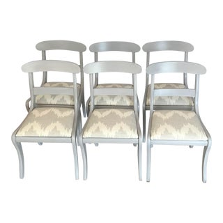 Gustavian Gray Klismos Dining Chairs - Set of 6 For Sale