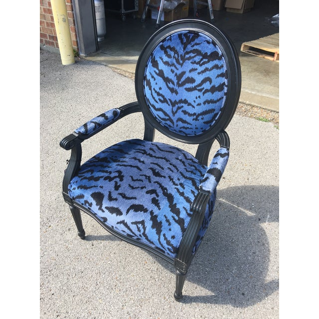Port 68 Scalamandre Blue Le Tigre Upholstered Avery Chair - Image 4 of 7