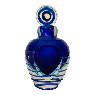 Hand Blown Studio Art Glass Blue Perfume Bottle by Luigi Onesto for Murano For Sale
