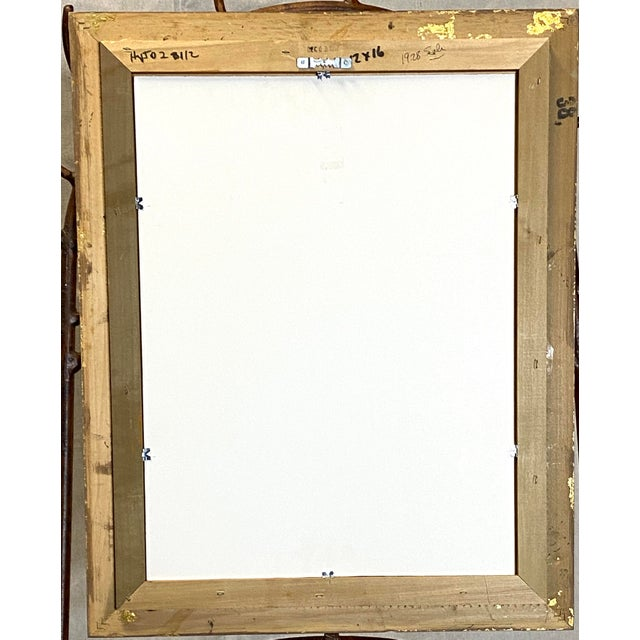Canvas Beautiful Vintage Oil on Canvas Signed Abstract Cubism Gold Frame For Sale - Image 7 of 8