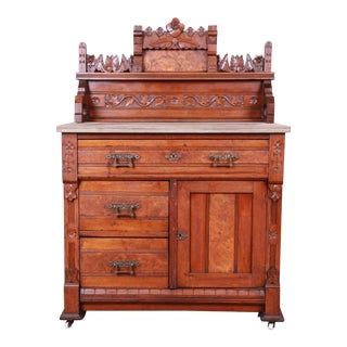 Eastlake Victorian Carved Walnut and Burl Wood Washstand, Circa 1870 For Sale
