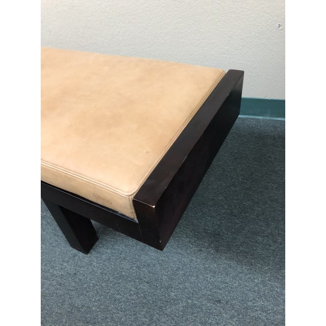 Baker Furniture Company Custom Modern Coach Leather Top Bench For Sale - Image 4 of 12