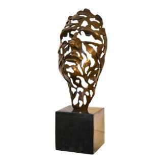 Modern Abstract Bronze Face Art For Sale