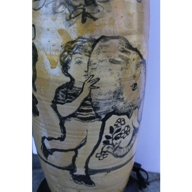 Large Hand Painted Ceramic Table Lamp For Sale - Image 4 of 5