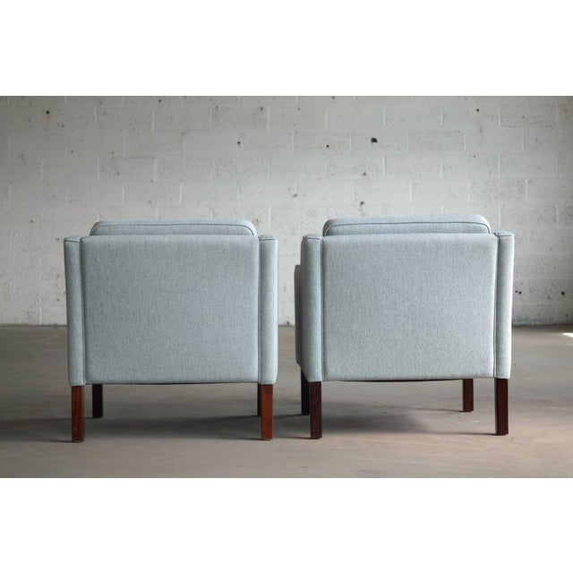 Børge Mogensen Model 2421 Style Danish Lounge Chairs in Cornflower Blue Wool For Sale - Image 12 of 13