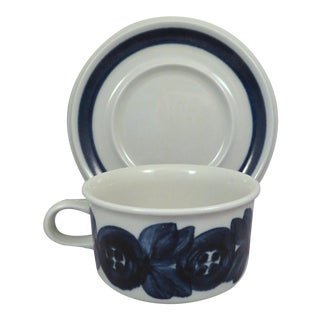 "Large Arabia of Finland ""Blue Anemone"" Scandinavian Modern Flat Cup & Saucer For Sale"