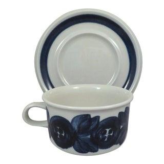 "Large Arabia of Finland ""Blue Anemone"" Scandinavian Modern Flat Cup & Saucer"