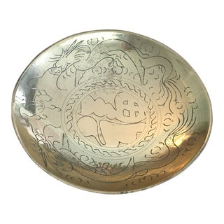 Vintage Hand Etched Brass Dragon Bowl For Sale