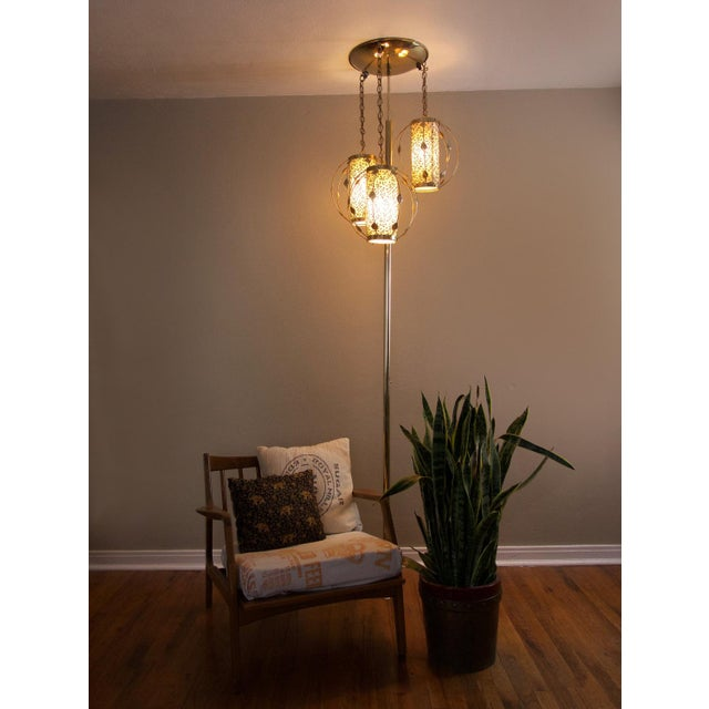 Vintage Mid-Century Gold Tension Pole Lamp For Sale - Image 4 of 9