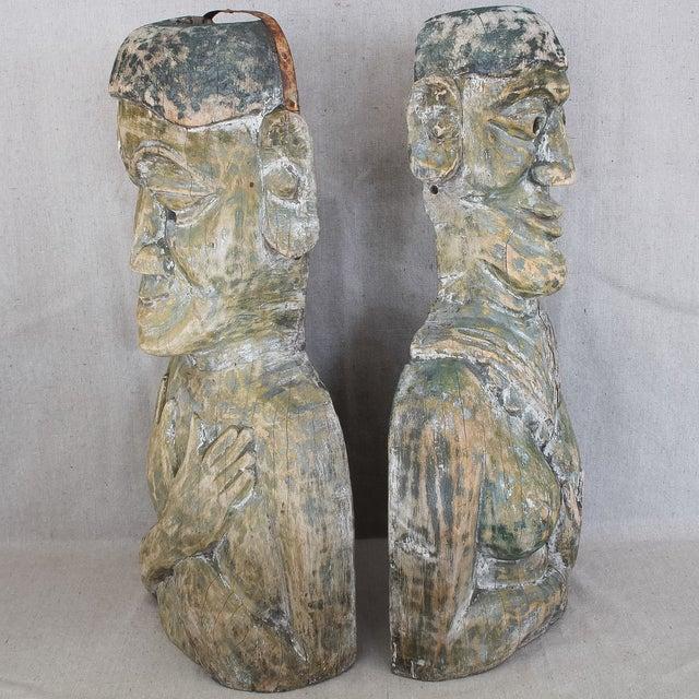 Antique West African Carved Wood Masks - Pair For Sale In San Francisco - Image 6 of 10