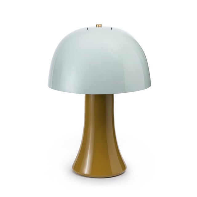 Contemporary Crown Lamp in Bright Teal / Lichen Green - Jeffrey Bilhuber for The Lacquer Company For Sale - Image 3 of 3