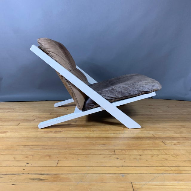 "White Pair Swiss Leather ""X-Chair"" by Ueli Berger for De Sede, 1970s For Sale - Image 8 of 12"