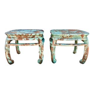 Vintage Asian Ming Style Side Tables - a Pair For Sale