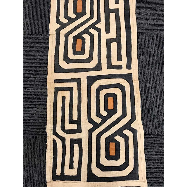 """African Vintage 12 Foot Handwoven Kuba Cloth-African Art-120"""" X 21""""-Wall Hanging/Rug/Fashion For Sale - Image 3 of 6"""