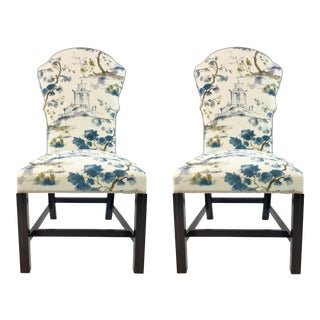 Hickory Chair Chinoiserie Print Marlboro Chairs Pair For Sale