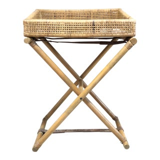 1960s Boho Chic Rattan Bamboo Bar Cart/Side Table For Sale