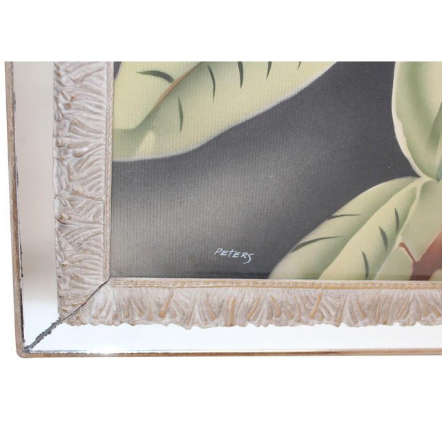 """Pair of vintage floral paintings in beautifully carved wood and mirror frames, signed """"Peters."""" Some normal vintage wear..."""