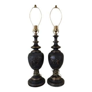 Vintage Bronze Cherub Lamps - a Pair For Sale