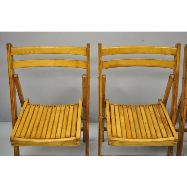 Metal 1950s Vintage Wood Slat Folding Dining Game Chairs- Set of 4 For Sale - Image 7 of 11