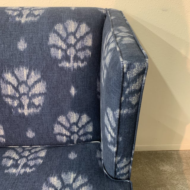 2010s Blue and White Contemporary Wing Chairs For Sale - Image 5 of 8