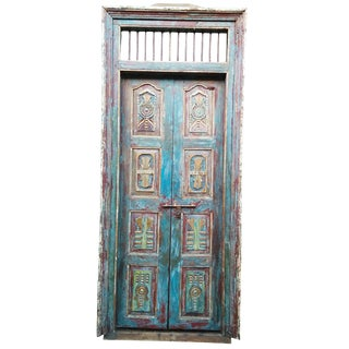 Antique Indian Hand Carved Distressed Blue Verandah Door For Sale