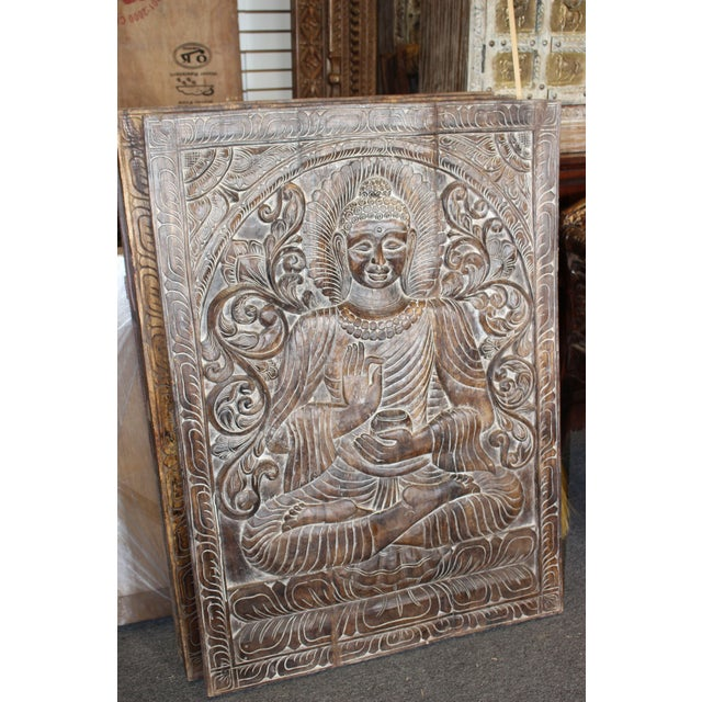 Vintage Carved Wooden Buddha Wall Panel