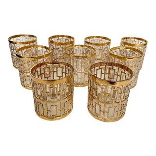 Vintage Imperial Glass 22 Karat Gold Shoji Rocks Glasses- Set of 9 For Sale