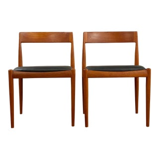Mid Century Modern Fritz Hansen Teak and Leather Accent Chairs- A Pair For Sale