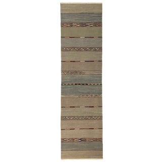 Rug & Reli Yeni Kilim Runner in Pale Blues and Greens| 2'7 X 9'8 For Sale