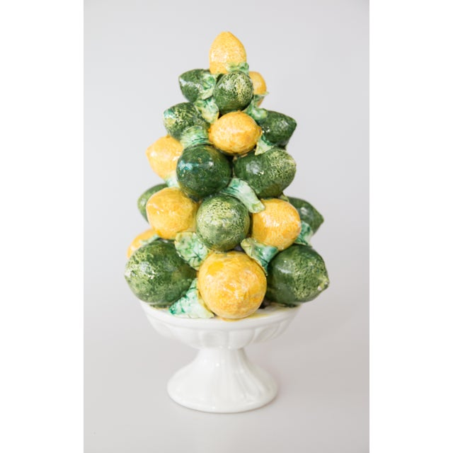 Lovely Mid Century Italian majolica lemons and limes topiary. Signed on reverse. Brighten up your kitchen or dining room...
