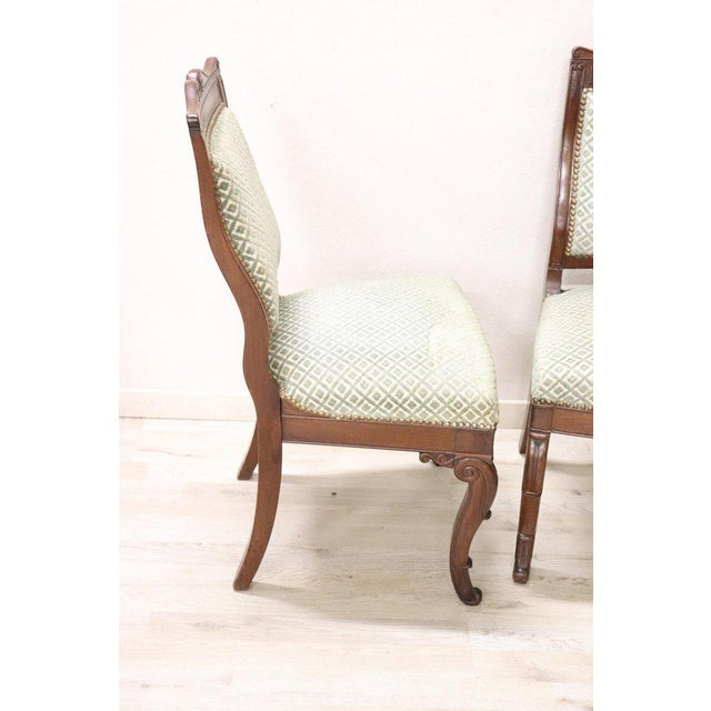 Late 19th Century 19th Century Italian Carved Mahogany Charles X Six Chairs For Sale - Image 5 of 13