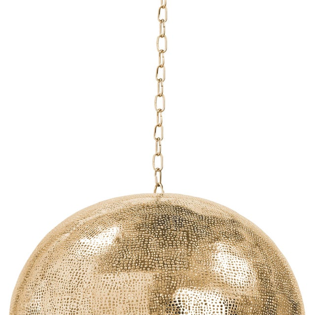 Pierced Metal Sphere Pendant in Natural Brass For Sale In Detroit - Image 6 of 9