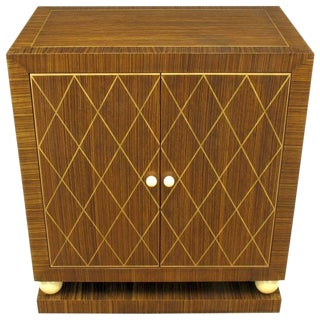 Art Deco Revival Macassar Ebony and Beechwood Two-Door Cabinet For Sale