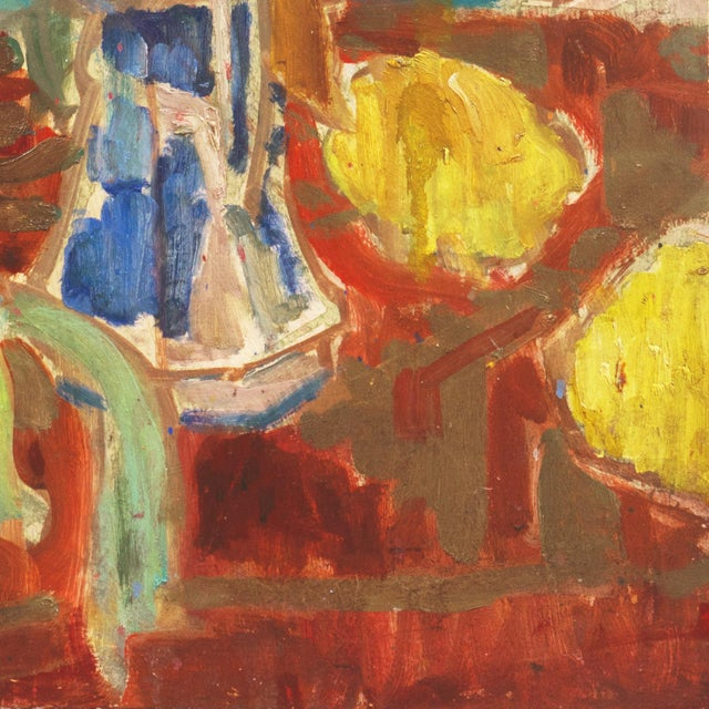 Signed, verso, 'Di Gesu' for Victor Di Gesu (American, 1914-1988) and dated 1960; additionally titled, 'Blue Pitcher'....